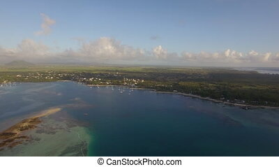 Aerial bird eye view of coast with sand beach and...