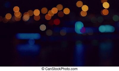 Defocused city lights in the night HD