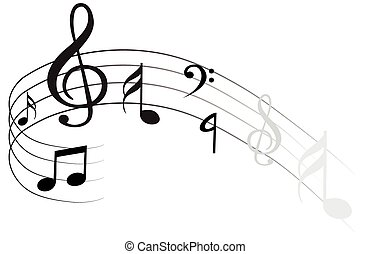 Music Note with different music symbols