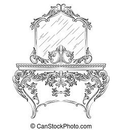 Vector Baroque Dressing Table and mirror frame furniture....