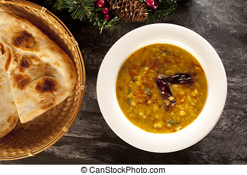 Indian Dal with Nan - Indian dal or dahl with nan bread, a...