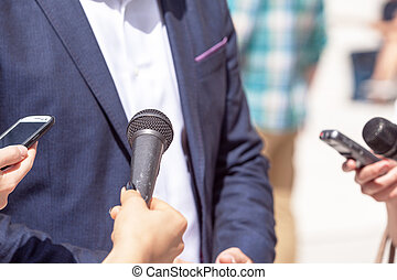 政治家, 發言人, 接見,  businessperson, 記者, 壓, 做, 會議, 或者
