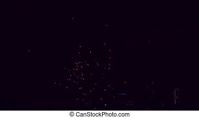 Fireworks in the night sky HD