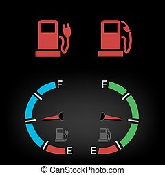 energy fuel icon - Car control panel interface fuel icon...