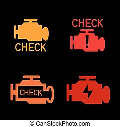 Engine check sign - Engine check icon. Car control panel...