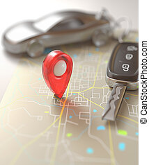 Car Travel Destination - Car key on the map with local...