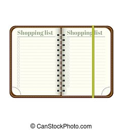 Book with blank Shopping list. Empty space for your text. Vector personal organiger with bookmark. Isolated on white background. MockUp for your design.
