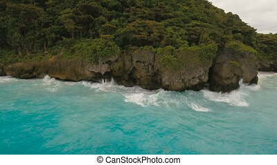Coast sea in stormy weather.Aerial view:Boracay island Philippines.