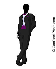 African American Wedding Groom in a Tuxedo Silhouette -...