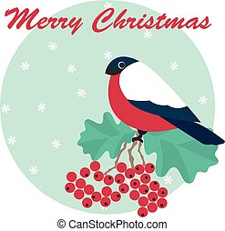 Merry Christmas vector of bulfinch and rowan with snowflake