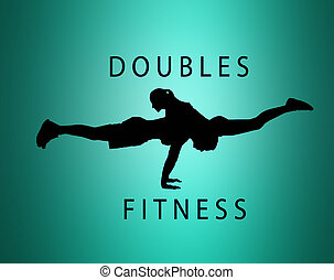 The silhouette of fit woman and man doing some push ups at...