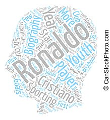 Cristiano Ronaldo Biography text background wordcloud...