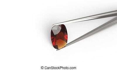 Oval diamond in tweezers on a white background