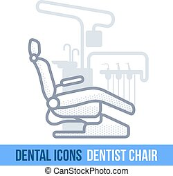 Vector line dental icon. Dentist chair. Brochures,...