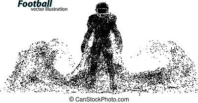 silhouette of a football player from particle. Rugby....