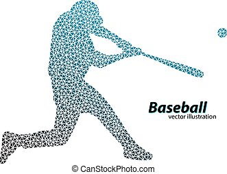 silhouette of a baseball player from triangle. Text on a...