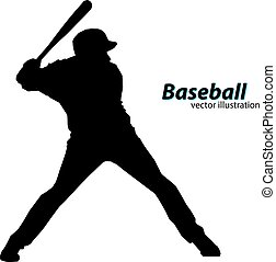 silhouette of a baseball player. Text on a separate layer,...