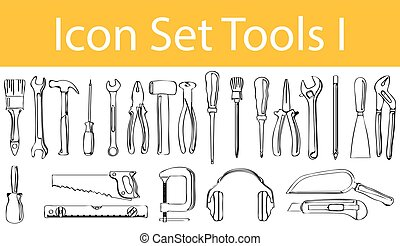 Drawn Doodle Lined Icon Set Tools I with 23 icons for the...