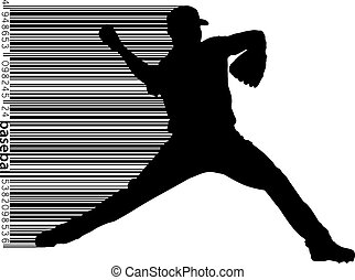 silhouette of a baseball player and barcode - silhouette of...