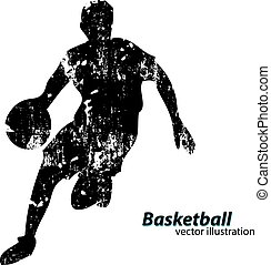 Silhouette of a basketball player. Background and text on a...
