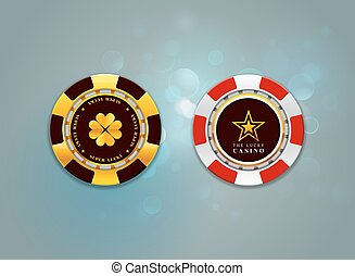casino chips on the bokeh background