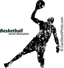 Silhouette of a basketball player.