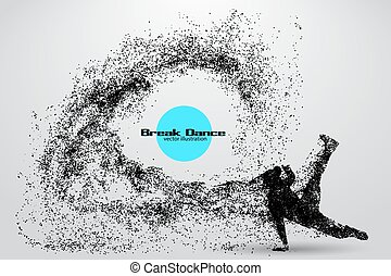 Silhouette of a break dancer from particles. Background and...