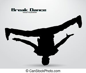 Silhouette of a break dancer. Background and text on a...