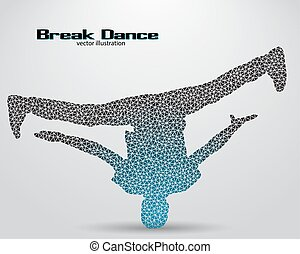 Silhouette of a break dancer from triangles. Background and...