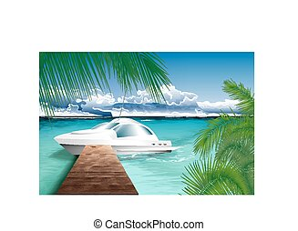 Ocean landscape with yacht.