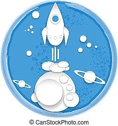 Cartoon paper spaceship. - Cartoon paper spaceship on blue...