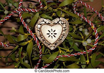 Coração,  mistletoe, fundo, Ouro