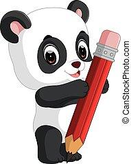 Cute panda cartoon holding pencil - illustration of Cute...