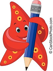 happy starfish carrying pencil