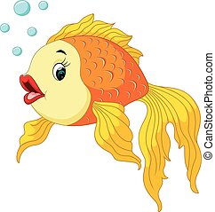 Gold fish with bubbles - illustration of Gold fish with...