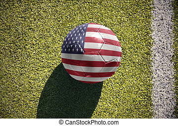 football ball with the national flag of united states of...