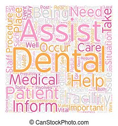 Dental Assistant Emergency Care text background wordcloud...
