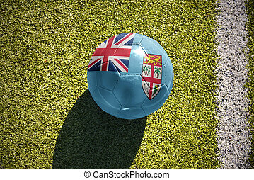 football ball with the national flag of Fiji lies on the...