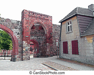 The school gate in the city wall of Templin, Uckermark
