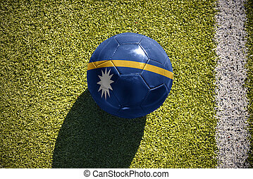football ball with the national flag of Nauru lies on the...