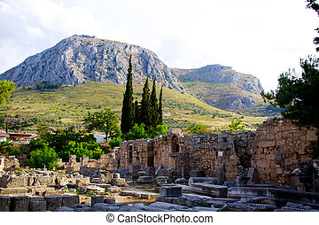 Archaeological Dig Site at Apollo Temple, Corinth, Greece. -...