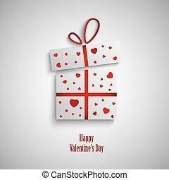 Valentine card with gift and red hearts