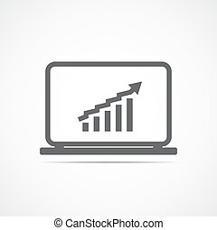Growing chart on laptop screen. Vector illustration