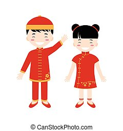 Chinese children - boy and girl isolated on the white background.
