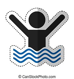 swiming person isolated icon vector illustration design