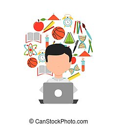 distance education elearning icon - distance education...