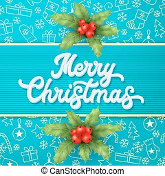 White Xmas 3d lettering and holly on blue Christmas background with gold elements sleighs, trees, balls, gifts. Christmas decoration for seasons greetings card design. Font vector illustration.