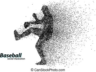 silhouette of a baseball player from particle. Text on a...