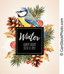 Card with winter cherry - Vector card with winter cherry,...