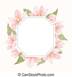 Floral wreath garland border frame sakura magnolia - Floral...